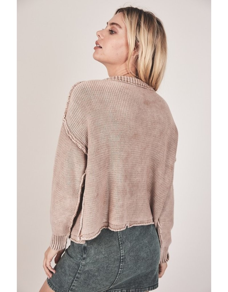 Ribbed Brushed Sweater - Beige