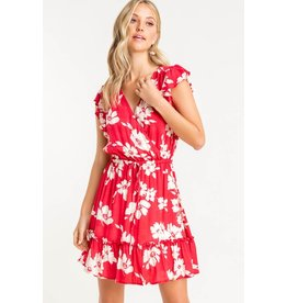 Lush Short Sleeve Tiered Mini Dress - Red