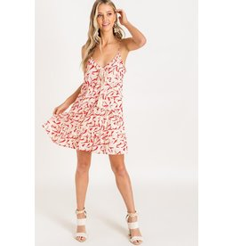 Lush Printed Ruffle Mini Dress - Red Floral