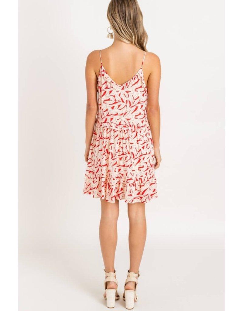 Lush Printed Ruffle Mini Dress - Red Floral