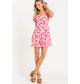 Lush Puff Sleeve Mini Dress - Pink