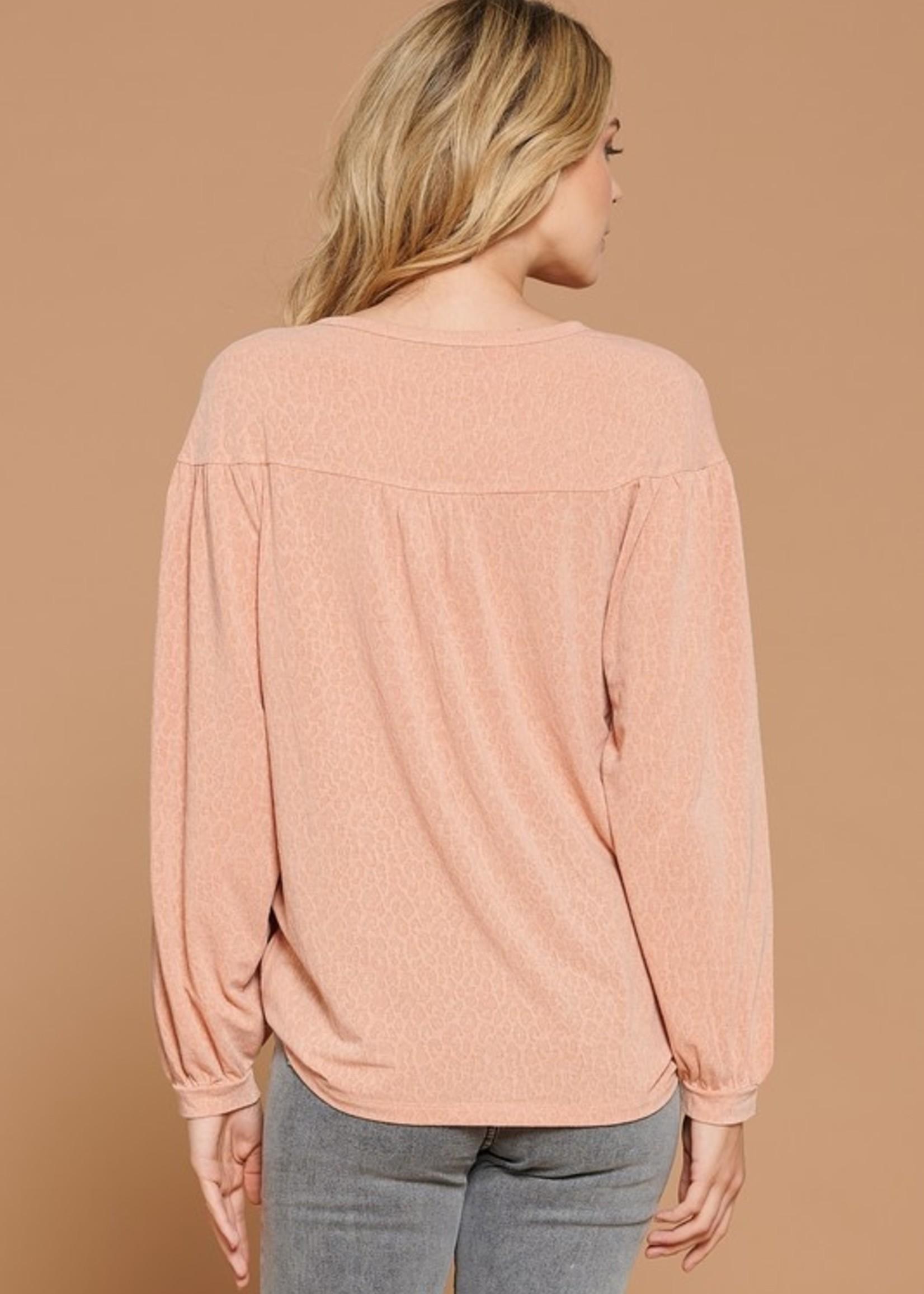 Long Sleeve Leopard Tee - Pink