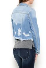 Hidden Denim Jacket with Frayed Bottom