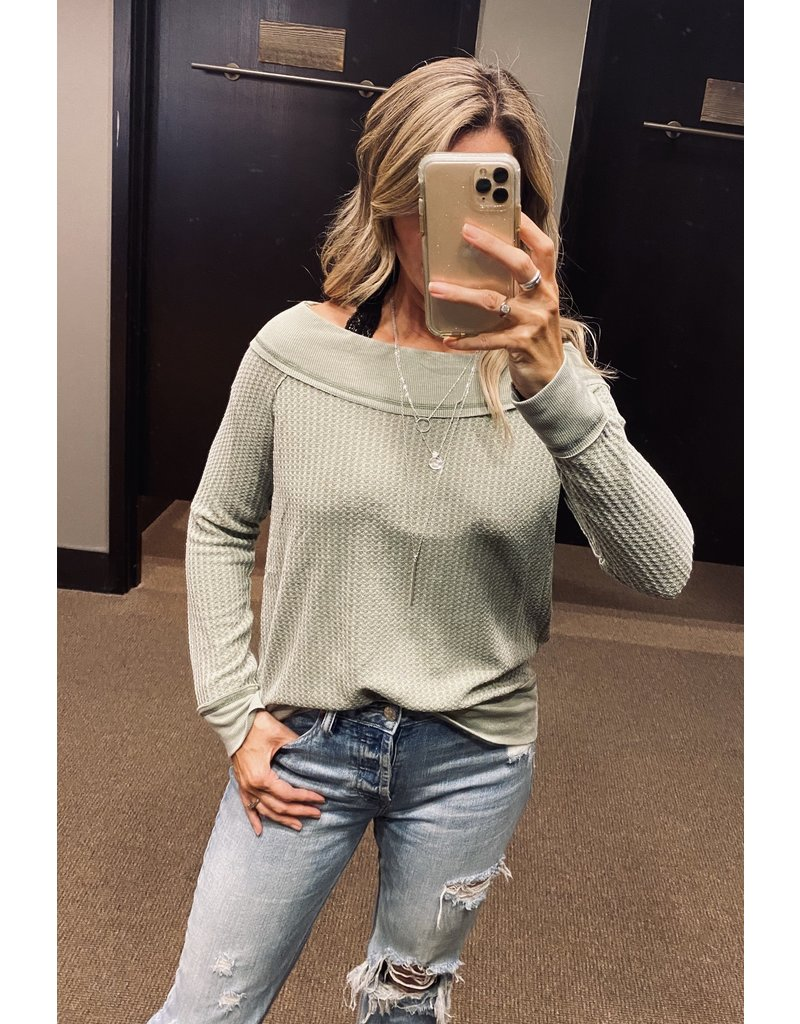 Long Sleeve Boat Neck Thermal - Olive