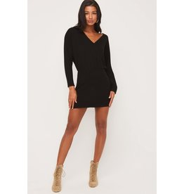 Lush Ribbed Mini Dress - Black