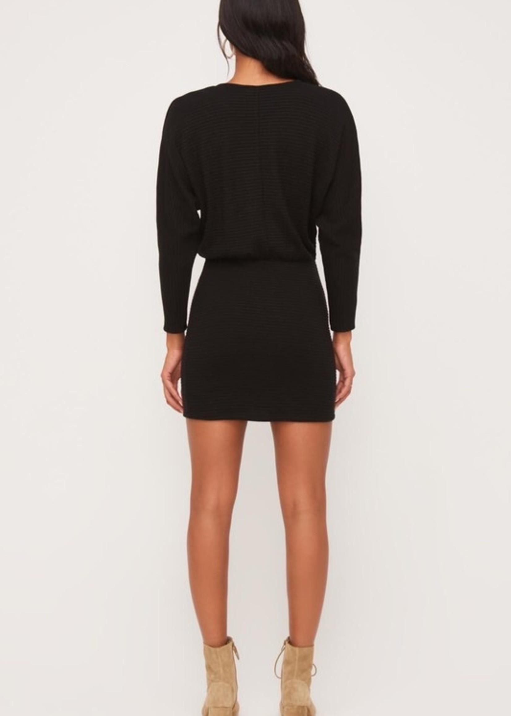 Lush Ribbed Mini Dress - Black