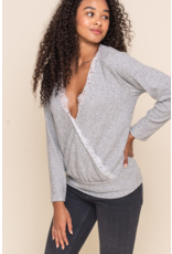 Lush Faux Wrap Sweater w/Lace - Grey