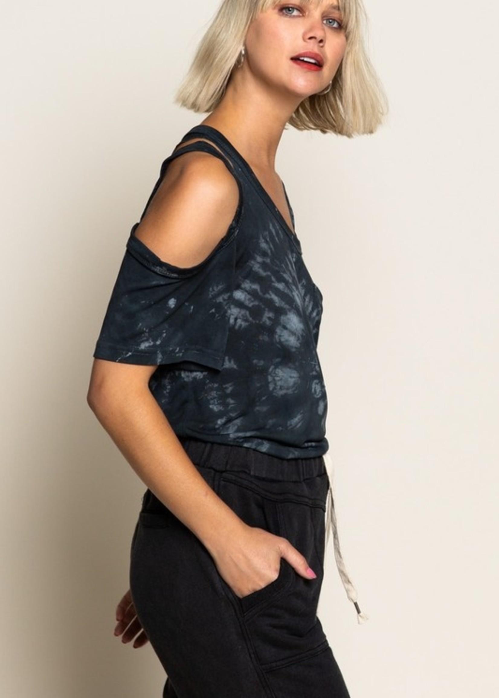 Cut Out Shoulder Top - Black
