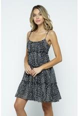 Leopard Dress with tie straps - Black