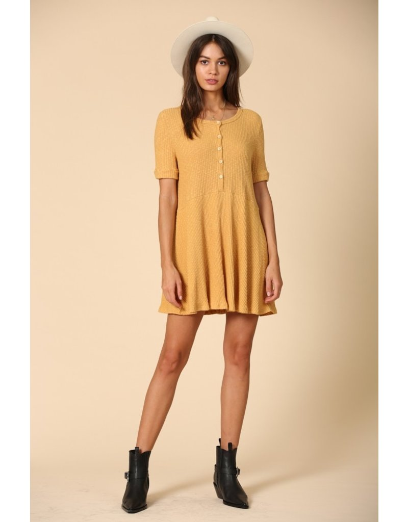 Button Front Ribbed Dress - Mustard