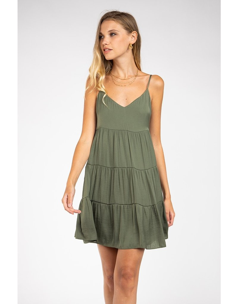 Spaghetti Strap Tiered Dress - Olive