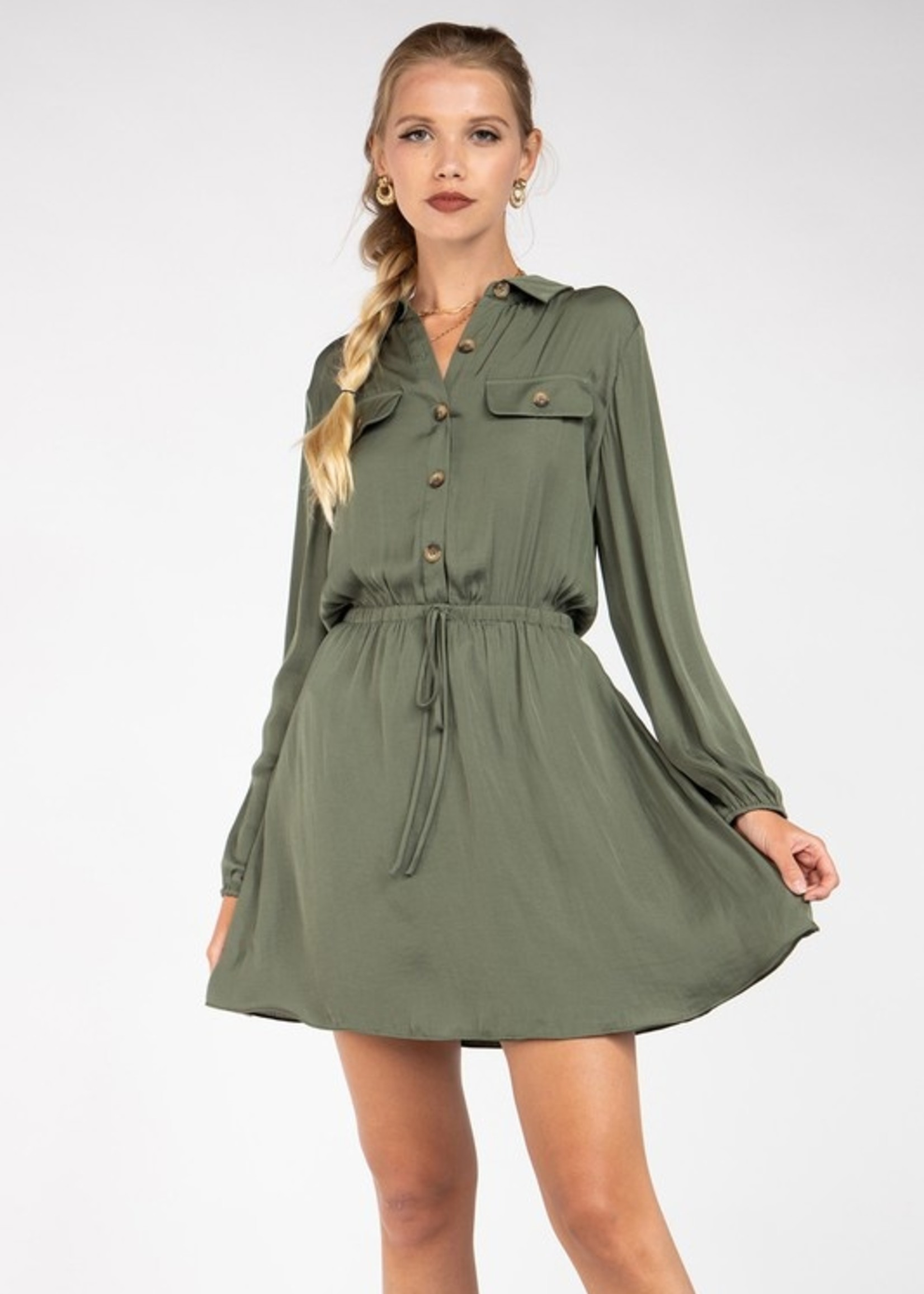 Button up shirt dress - Olive