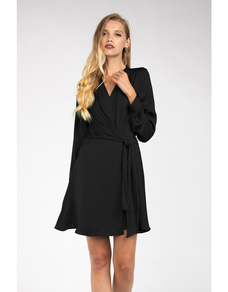 Long Sleeve Wrap Dress - Black