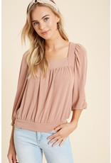 Square Neck Top - Dusty Rose