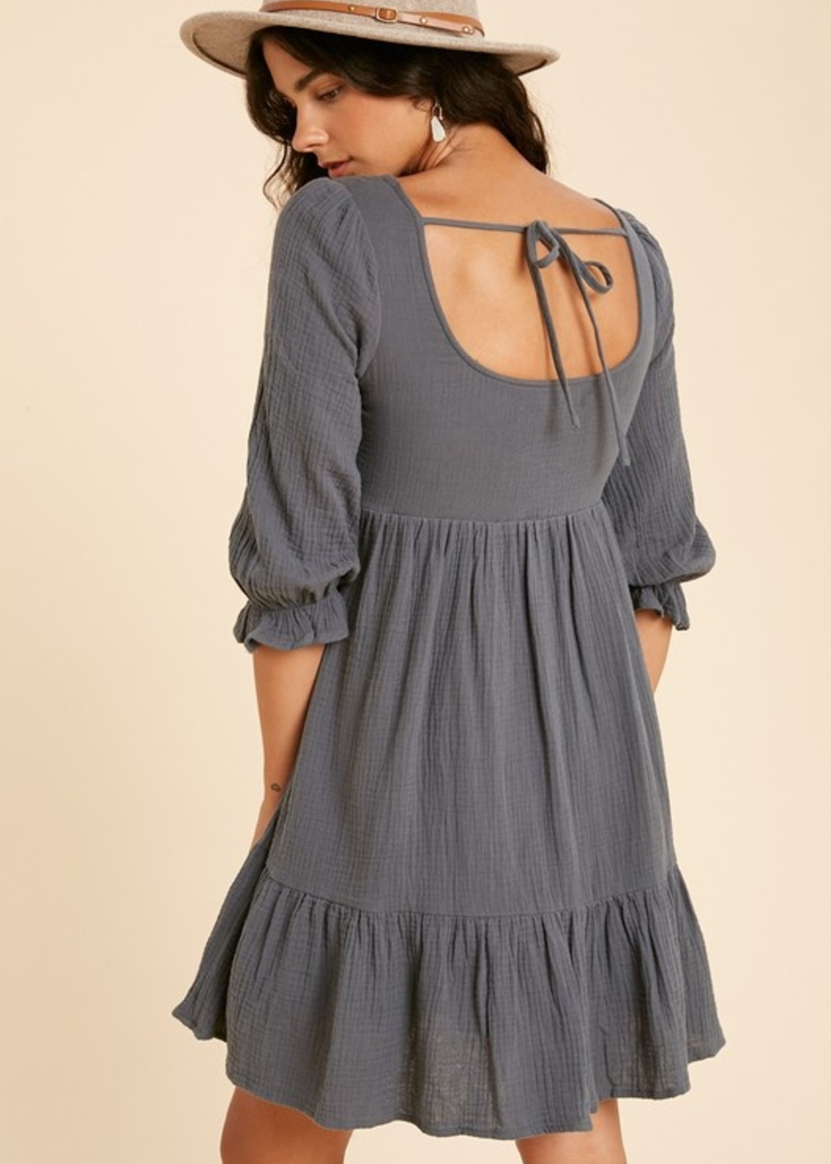Guaze Henley Dress - Charcoal Teal