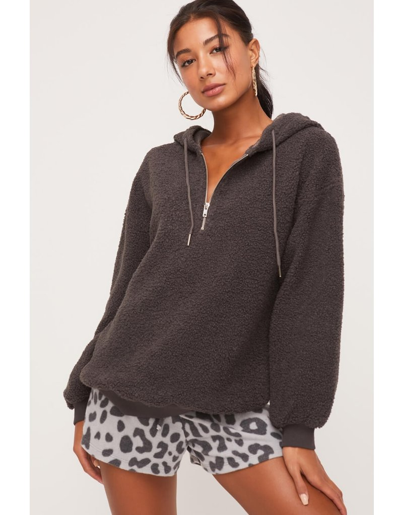 Lush Half Zip Fuzzy Hoodie - Charcoal