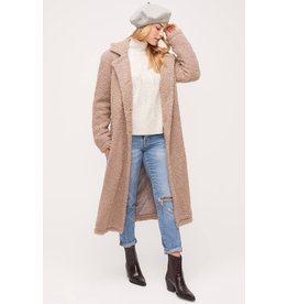 Lush Long Button Down Coat - Mocha