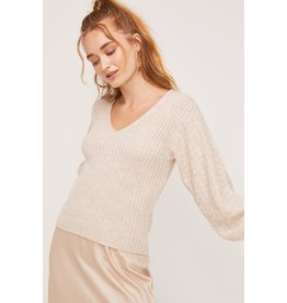 Lush Contrast Sleeve Knit Sweater - Heather Oatmeal