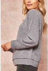 Speckled Knit Layered Hem Sweater - Grey