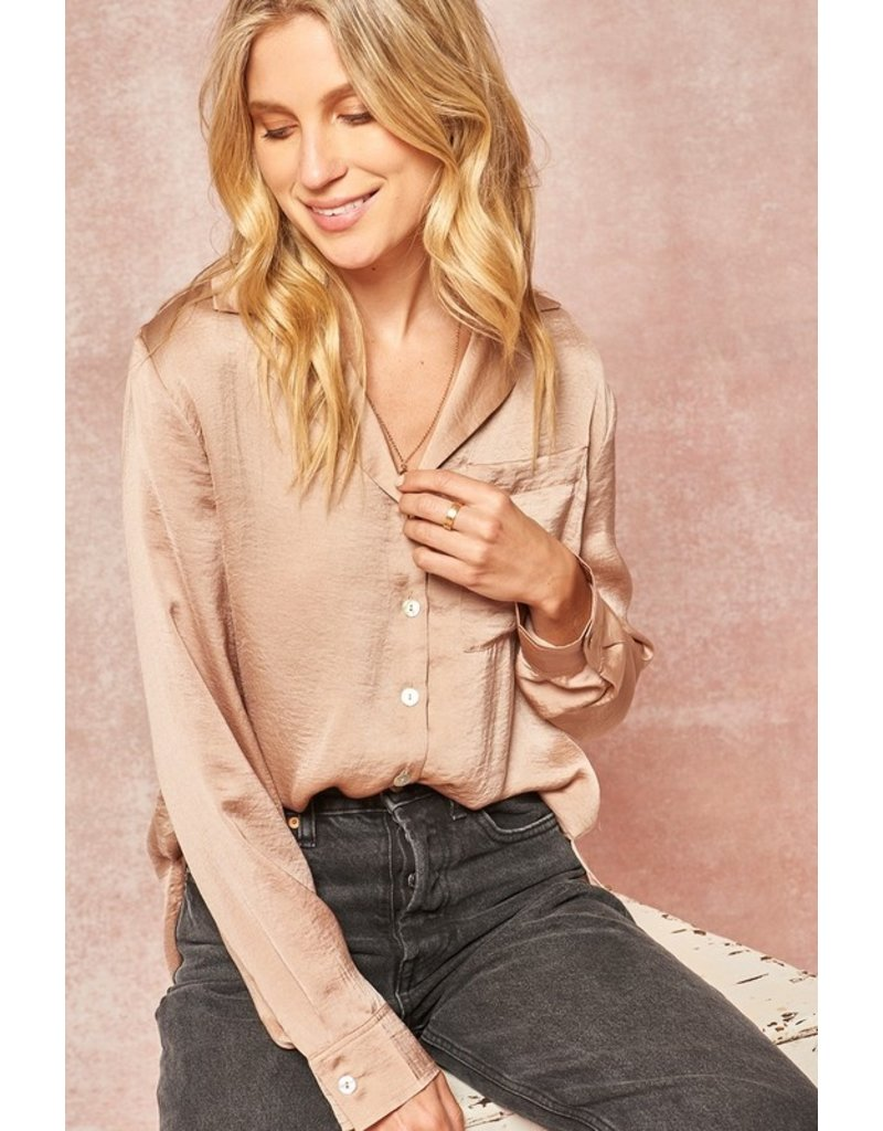 Textured button up top - Taupe