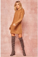 Distressed Cable Sweater Dress - Camel