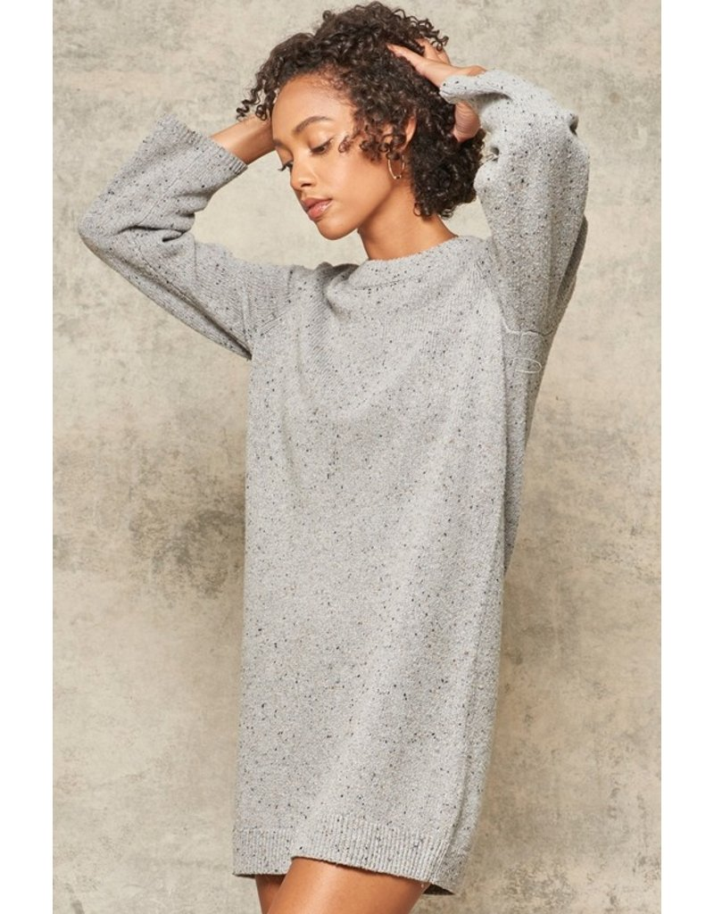 Button Sleeve Sweater Dress - Heather Grey