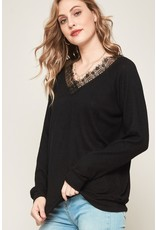 Lace Trim Brush Knit Top - Black