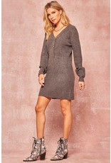 Ribbed Knit Henley Sweater Dress - Charcoal