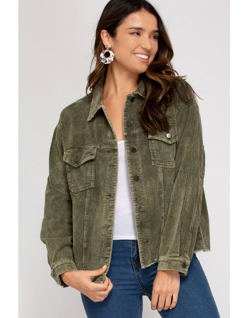 Cord Jacket - Washed Olive