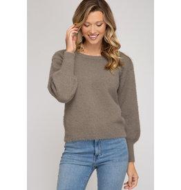 Fuzzy Knit Sweater - Mocha