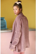 Fluffy Textured Cardigan - Mauve