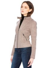 Faux Suede Jacket - Taupe
