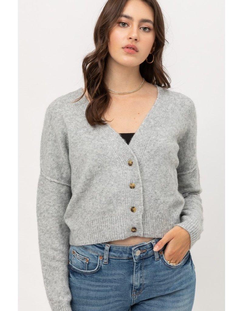 Button Up Soft Cardigan - Heather Grey