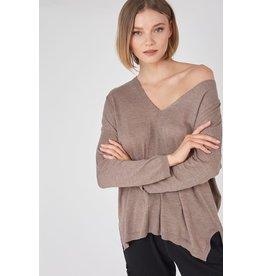 V Neck Knit Sweater - Mocha