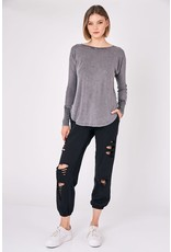 Round Neck Waffle Top - Charcoal