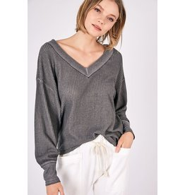V Neck Waffle Top - Charcoal