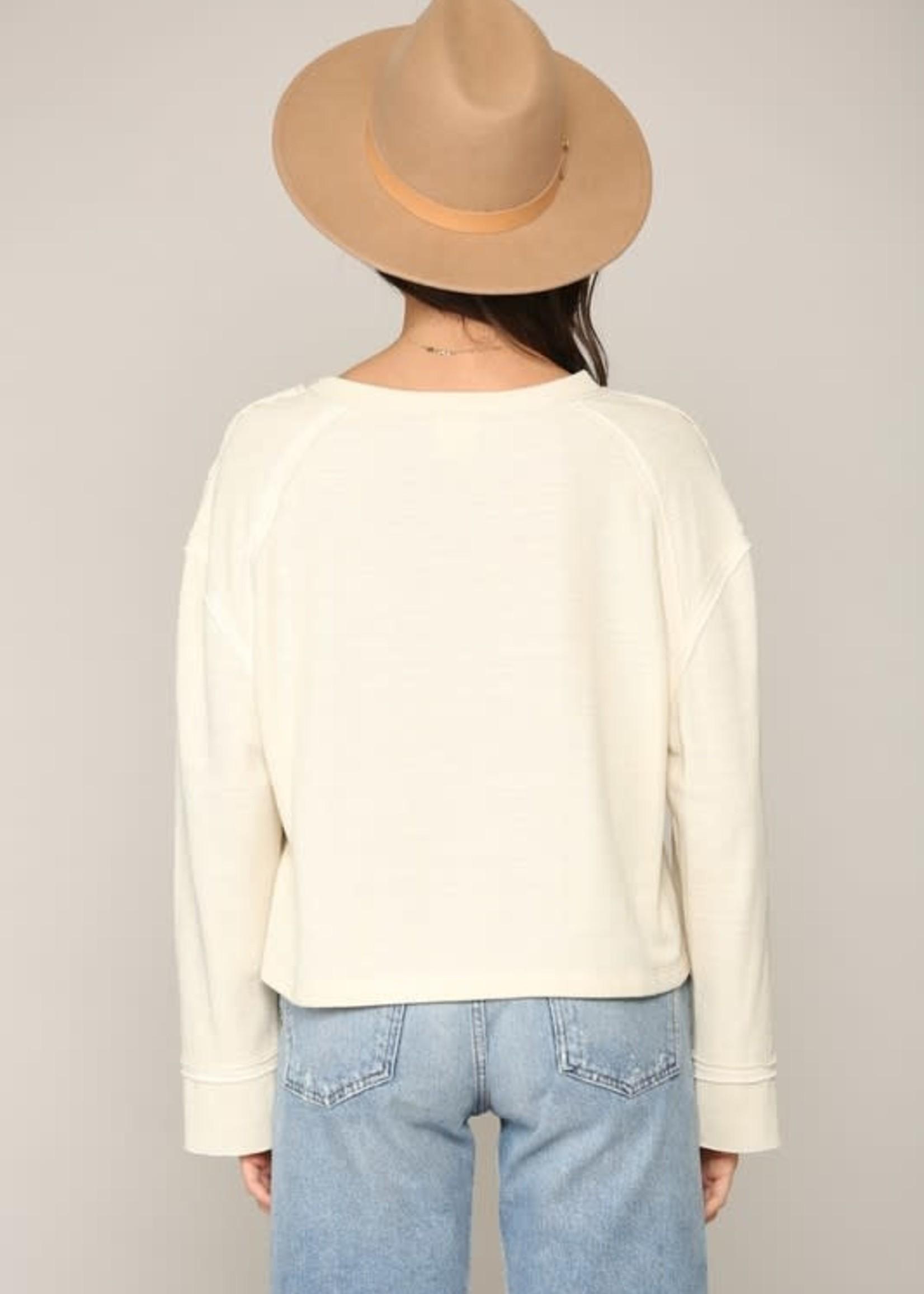 Knit Double Gauze Top - Cream
