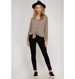 Button Down Tie Front Top - Camel