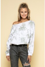 Off One Shoulder Tie Dye Sweatshirt - Olive