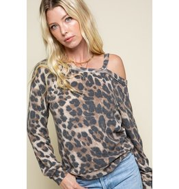 Soft Leopard Top Off One Shoulder