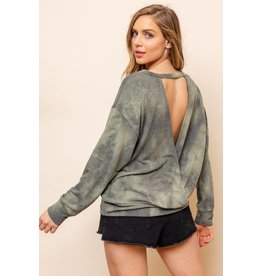 Tie Dye Open Back Top - Olive