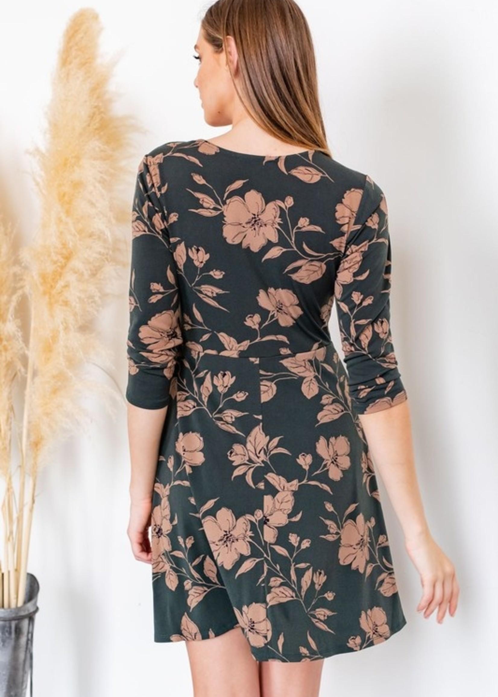 3/4 Sleeve Side Tie Dress - Olive