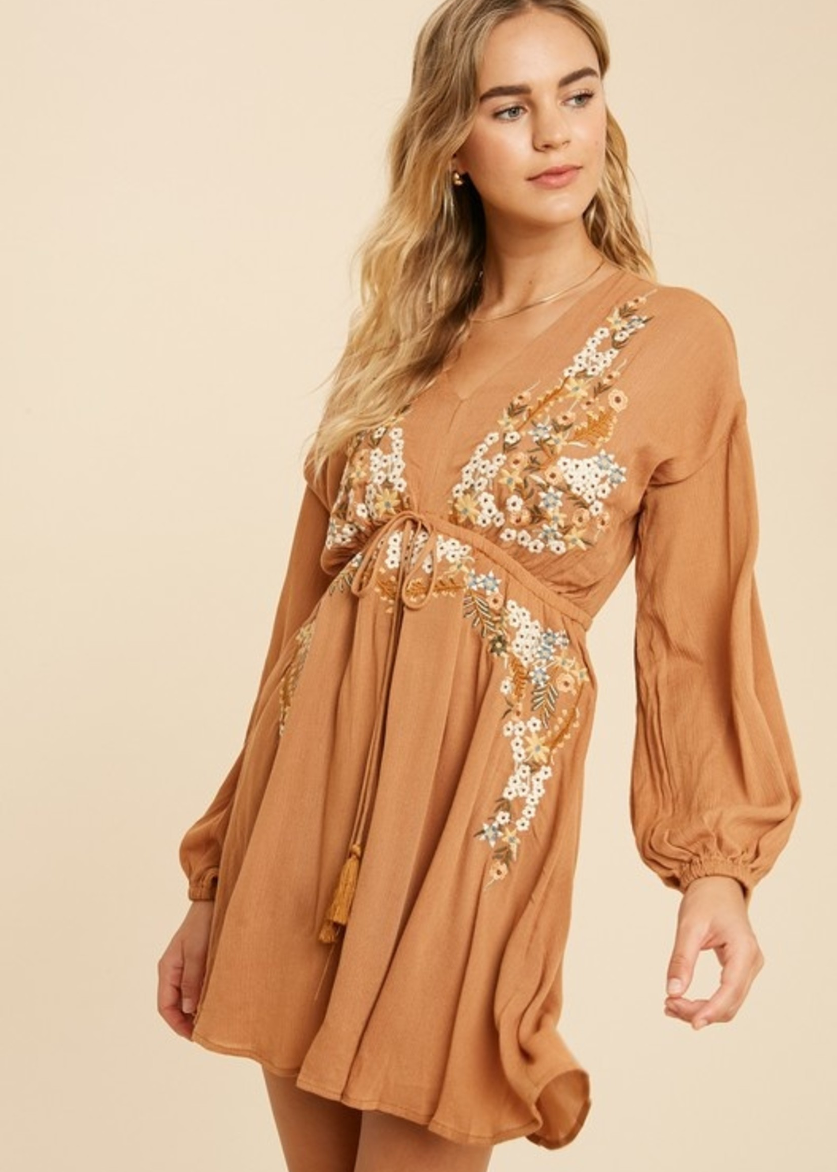 Floral Embroidered Dress - Rust