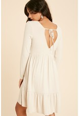 Brushed Hacci Dress with back tie - Oatmeal