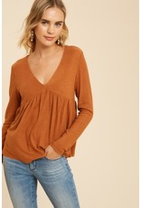 Brushed Hacci Babydoll Top - Rust