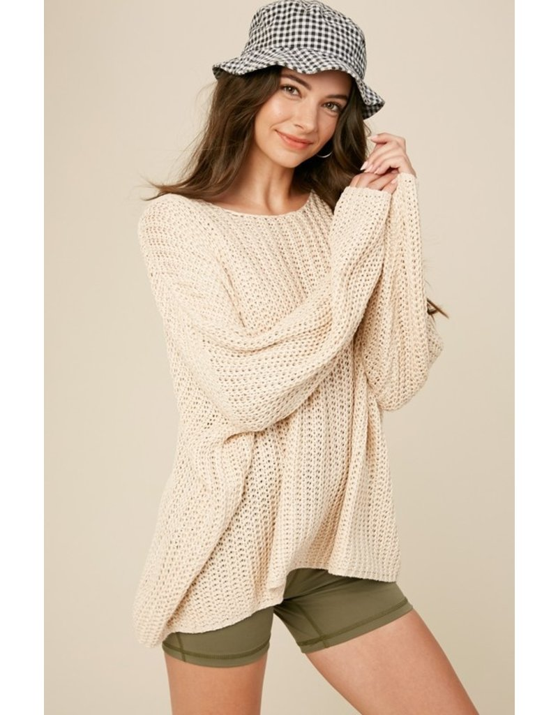 Net Crochet Boat Neck Sweater - Taupe