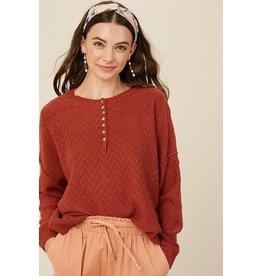 Textured Button Sweater - Brick