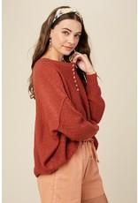 Textured Button Sweater - Brick