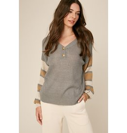 Striped Sleeve Sweater - Dusty Blue
