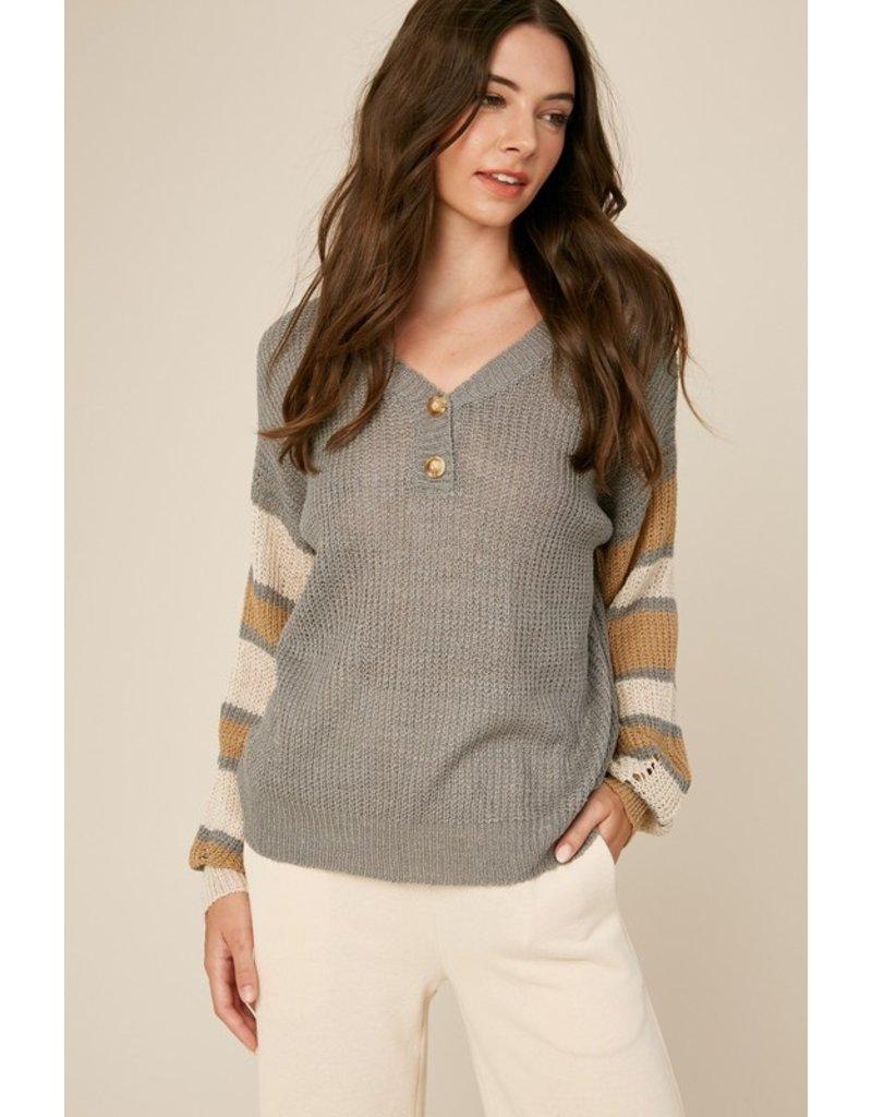 Striped Sleeve Sweater - Dusty Blue